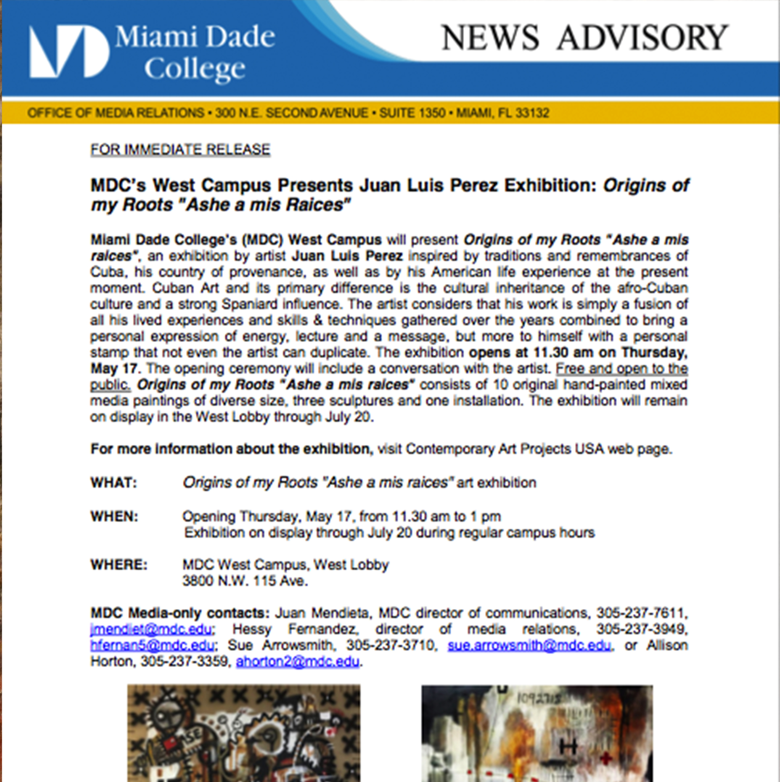 Miami Dade College presents Juan Luis Perez Exhibition